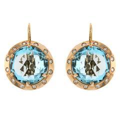Blue Topaz Rose Gold Dangle Earrings Diamonds Modern