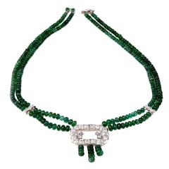 Emerald Diamond Platinum Beads Necklace