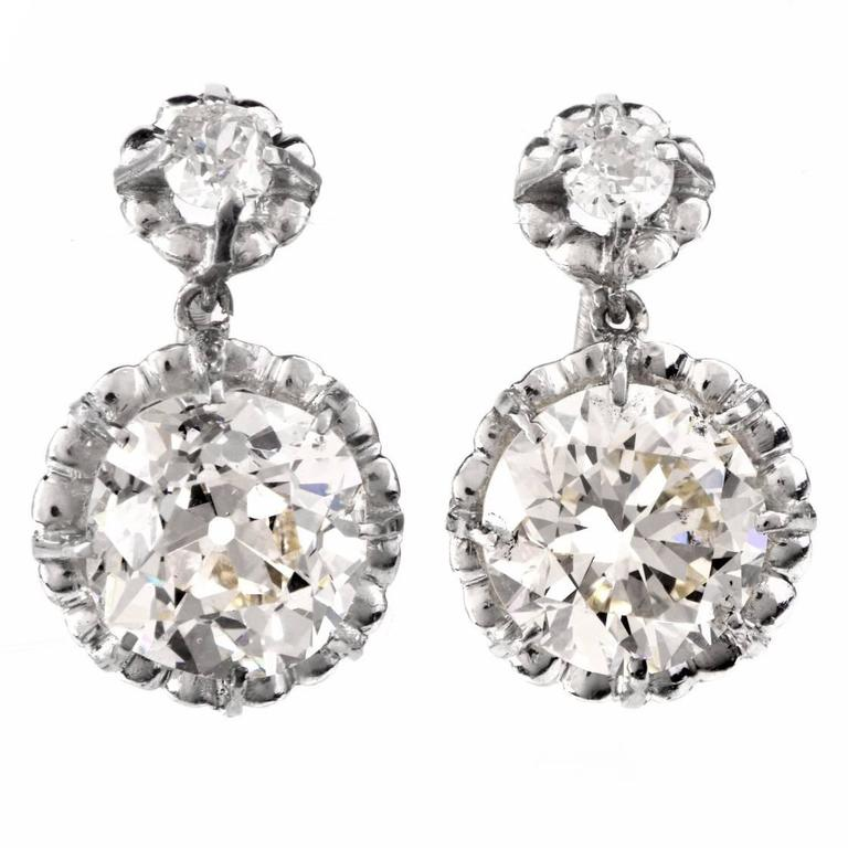 1950s Diamond Platinum Pendant Stud Earrings