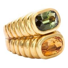 Bold Honey Citrine and Green Tourmaline Gold Ring