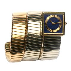 Bulgari Lady's Yellow Gold Lapis Dial Tubogas Bracelet Wristwatch