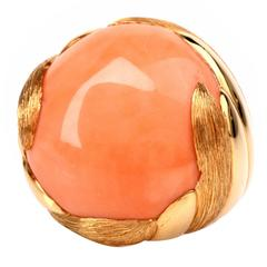 Retro Coral Gold Ring