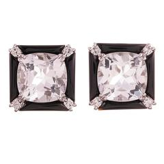 Seaman Schepps Crystal Onyx Diamond Gold Carre Earrings