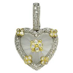 Stambolian Frosted Crystal Diamond Gold Heart Enhancer
