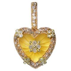 Stambolian Frosted Yellow Quartz Diamond Gold Heart Enhancer