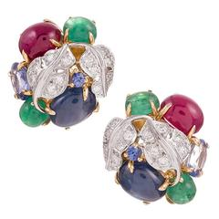 Seaman Schepps Emerald Ruby Sapphire Diamond Gold Vine Earrings