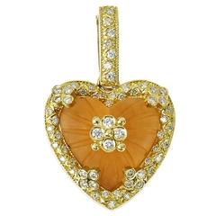 Stambolian Frosted Citrine Diamond Gold Heart Enhancer