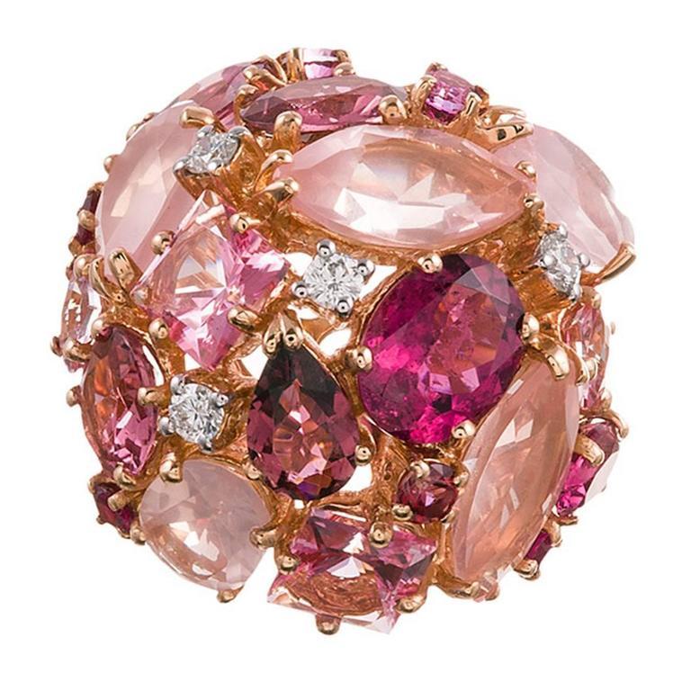 Ugo Cala Pink Topaz Ruby Diamond Gold Dome Ring 1