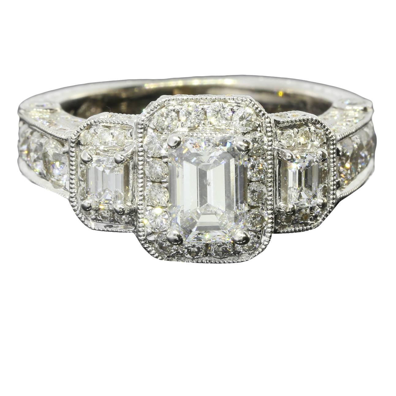 filigree emerald cut gold halo ring at 1stdibs