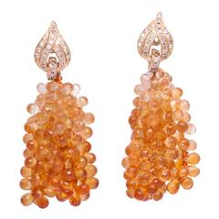 Michael Kanners Citrine Briolette Diamond Gold Earclips