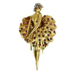 1940s Ruby Diamond Gold Ballerina Brooch