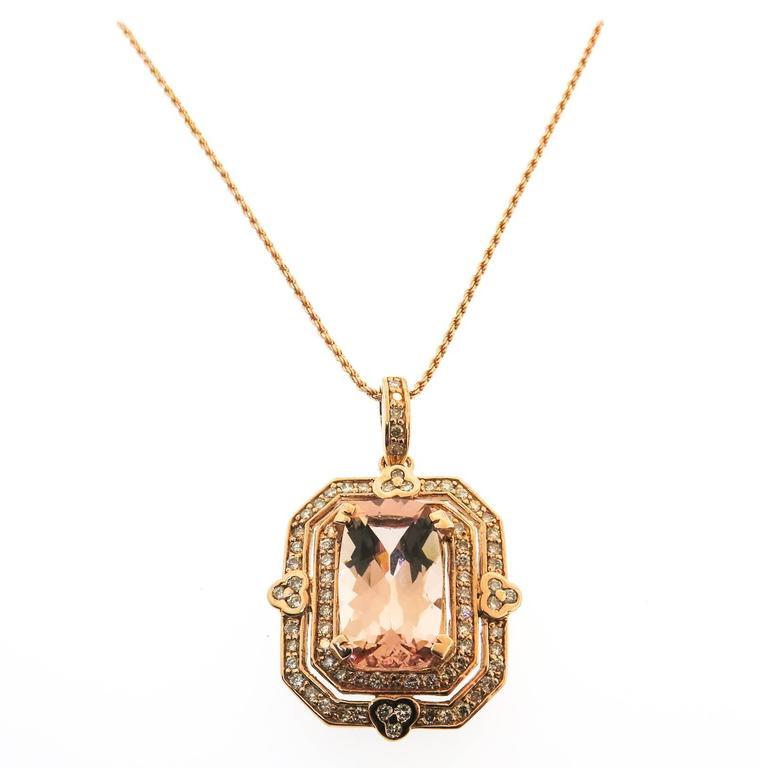 Morganite Diamond Gold Necklace