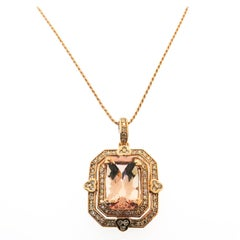 Morganite Diamond Rose Gold Necklace