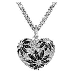 Black and White Diamond Gold Heart Pendant Necklace