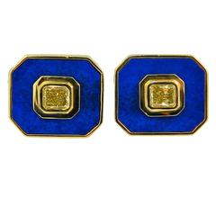 Hartz & Co. Lapis Fancy Yellow Diamond Gold Cufflinks