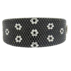 Roberto Coin Fantasia Black Sapphire Diamond Gold Bangle Bracelet