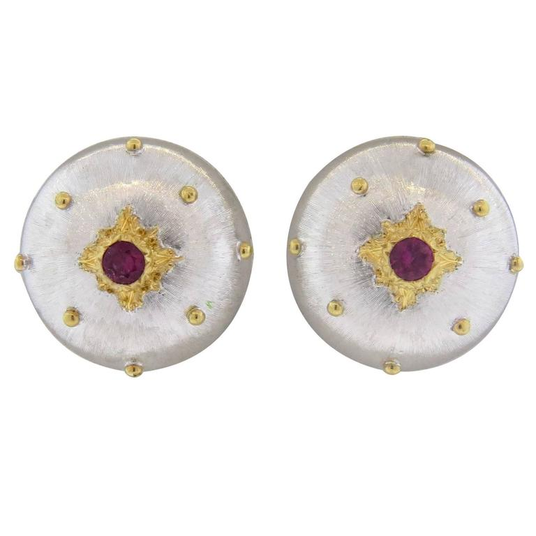 Buccellati Ruby Two Color Gold Button Earrings