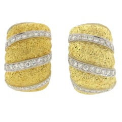 Large Buccellati Diamond Gold Wide Hoop Earrings