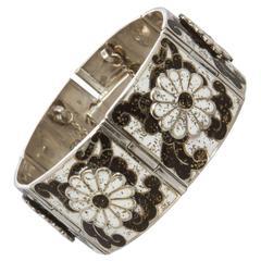 Margot de Taxco Wide Enameled Silver Link Bracelet