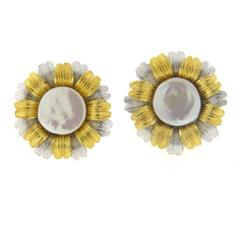Large Buccellati Pearl Gold Sunflower Earrings