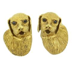 1990s Tiffany & Co. Sapphire Gold Dog Cufflinks