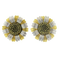 Large Buccellati Gold Sunflower Earrings