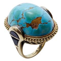 1930s Turquoise Matrix Onyx Gold Ring