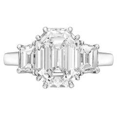 5.33 Carat Emerald-Cut Diamond Platinum Ring