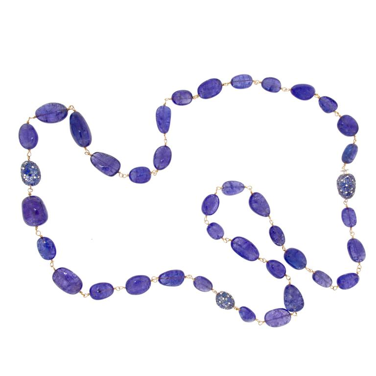 Jona Tanzanite Blue Sapphire White Diamond 18 Karat Rose Gold Necklace For Sale
