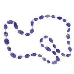 Jona Tanzanite Blue Sapphire White Diamond 18 Karat Rose Gold Necklace