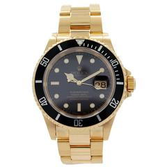 Rolex Yellow Gold Submariner Black Dial Wristwatch Ref 16618
