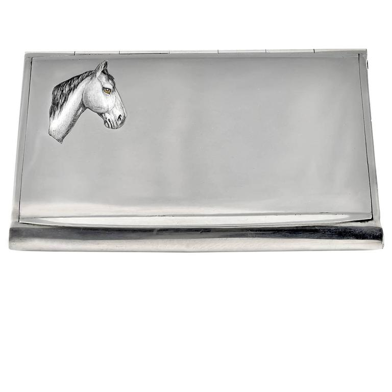 Antique Sterling Silver Horse Case