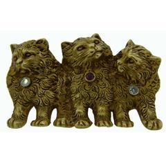 Edwardian 1900s Ruby Diamond Gold Three Cats Pin Brooch