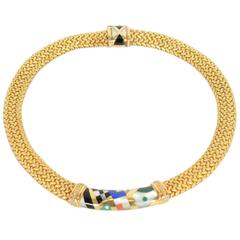 Asch Grossbardt Inlaid Stone Gold Choker Necklace
