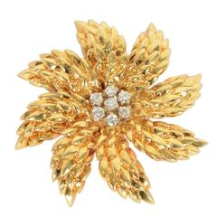 Tiffany & Co. Diamond Gold Floral Brooch