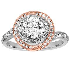 GIA Certified 1.05 Carat F VS2 Diamond Two Color Gold Engagement Ring