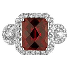 5.10 Carat Garnet Diamond Halo 18K White Gold Ring