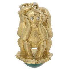 Gold Three Wise Monkeys Charm