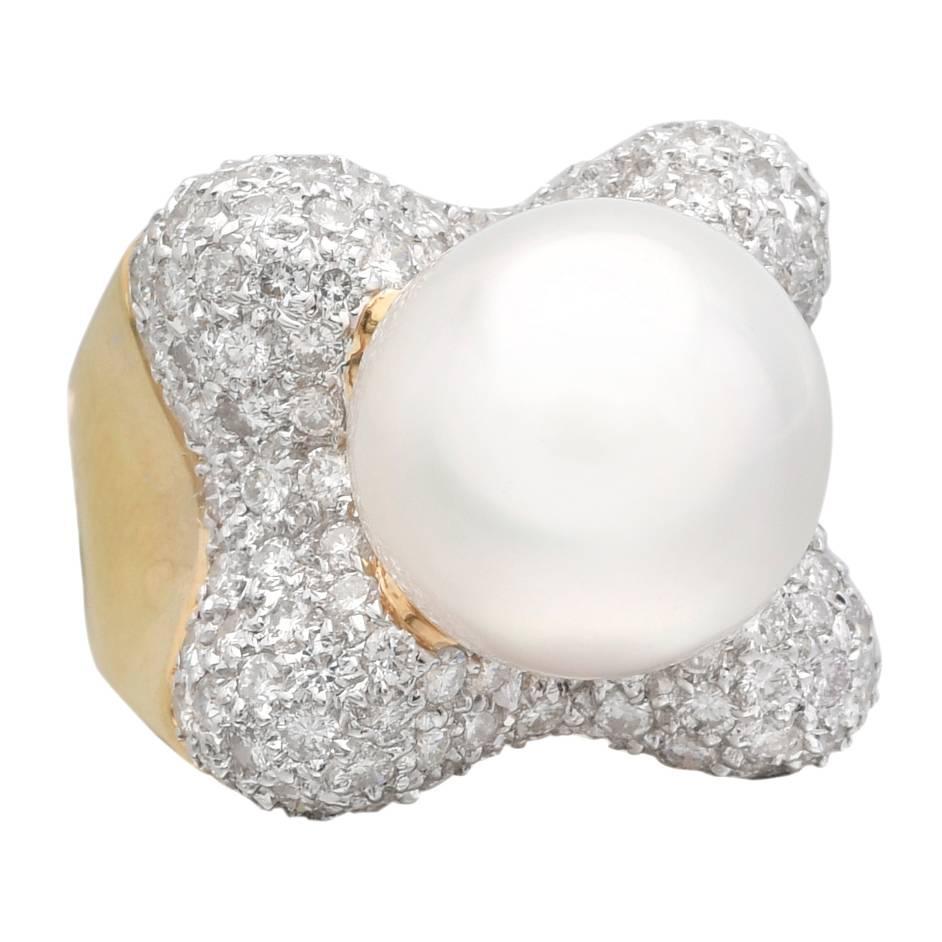 pearl gold ring at 1stdibs