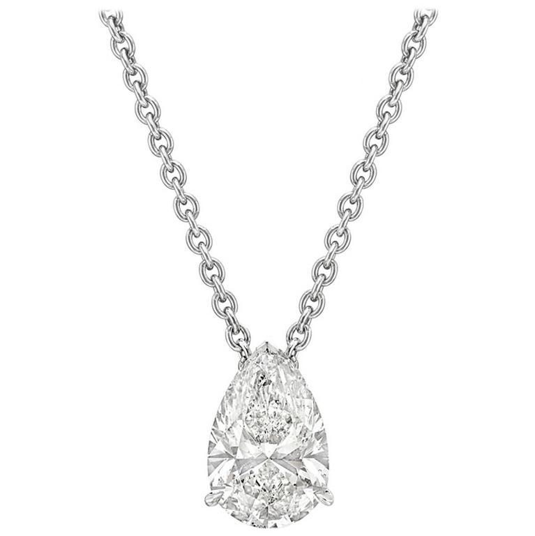 Betteridge 4 carat pear shaped diamond solitaire platinum pendant at betteridge 4 carat pear shaped diamond solitaire platinum pendant for sale aloadofball Images