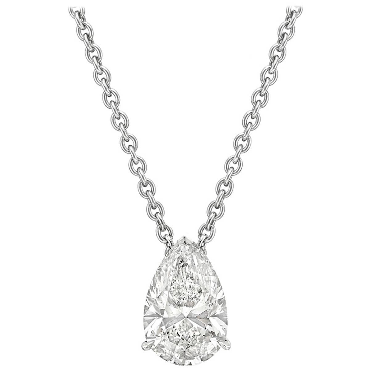 clarity certifie necklace egl solitaire gold pear diamond white pendant i shaped