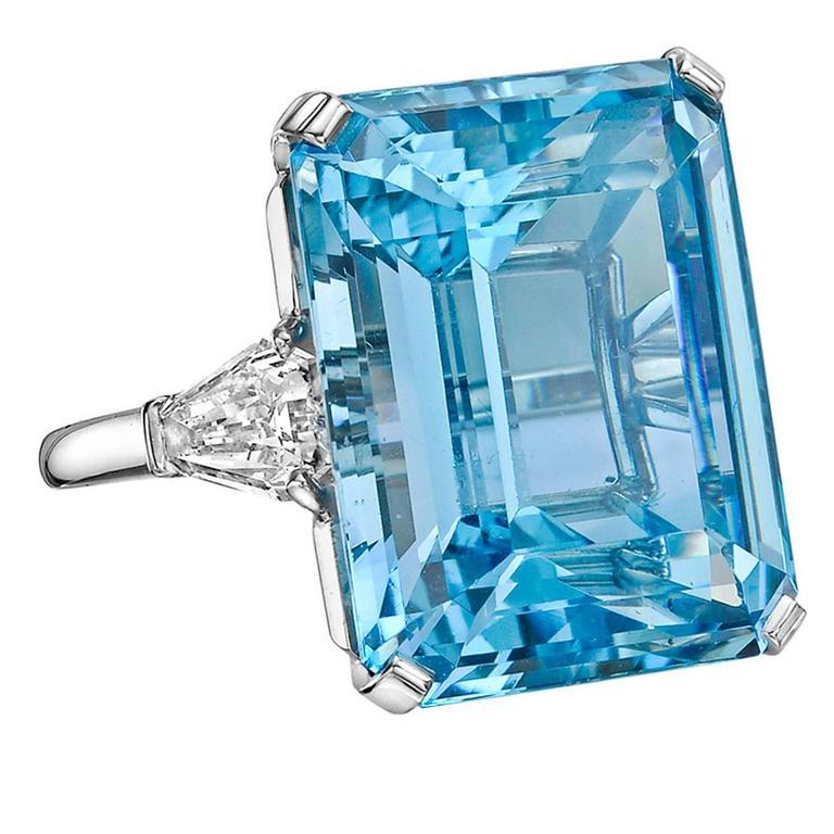 Betteridge 24.07 Carat Aquamarine Diamond Platinum Ring 1