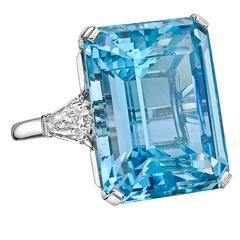 Betteridge 24.07 Carat ​Aquamarine Diamond Platinum Ring