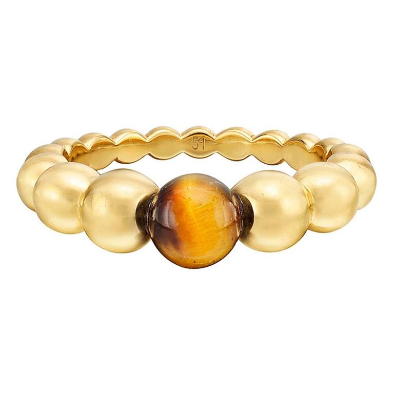 Van Cleef and Arpels Tiger s Eye Gold Perlée Ring For Sale at 1stdibs