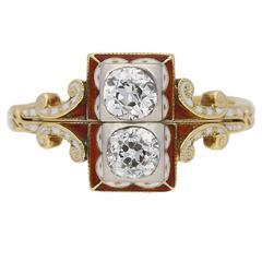 Renaissance Revival Enamel Diamond Gold Ring