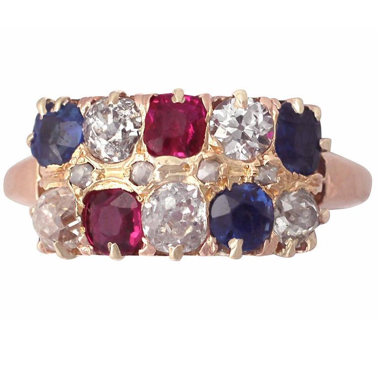 1900s Antique Diamond & Multi-Gemstone Rose Gold Cocktail Ring