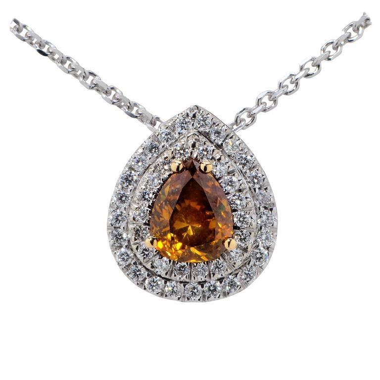 1.10 Carat GIA Cert Fancy Color Diamond Gold Necklace