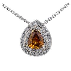 1.10 Carat GIA Cert Fancy Color Diamond Gold Necklace