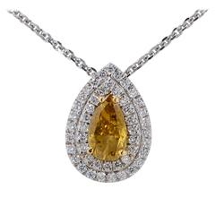 1.02 Carat GIA Fancy Color Diamond Gold Necklace