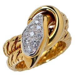 Pomellato Diamond Gold Snake Ring